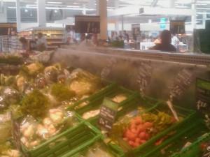 pulverización agua verduras
